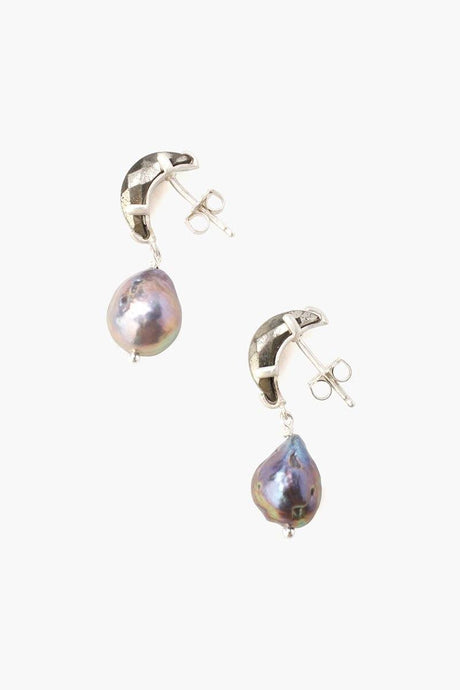 Pyrite Crescent Moon and Freshwater Pearl Drop Earrings
