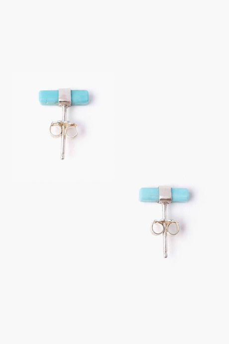 Turquoise Baguette Stud Earrings