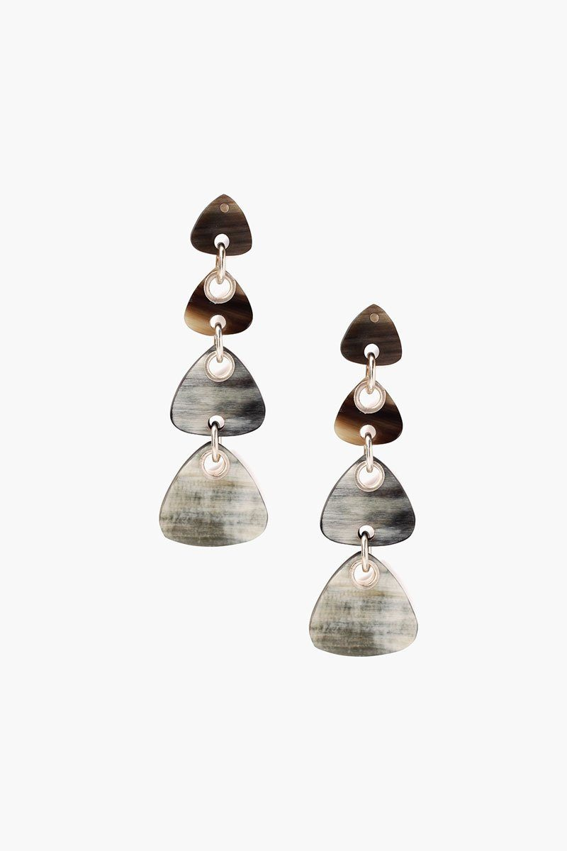 Tiered Black Horn Earrings