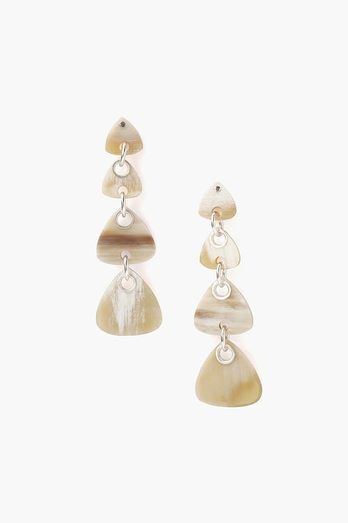 Tiered White Horn Earrings