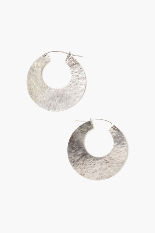 Silver Disc Hammered Hoop Earrings