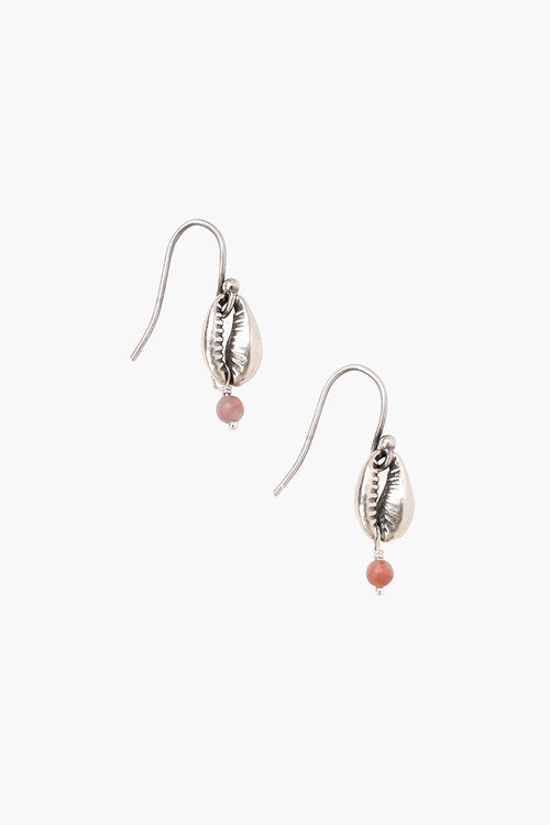 Rhodochrosite Cowry Shell Earrings