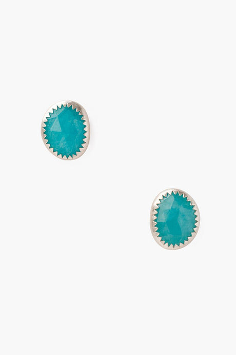 Amazonite Oval Stud Earrings