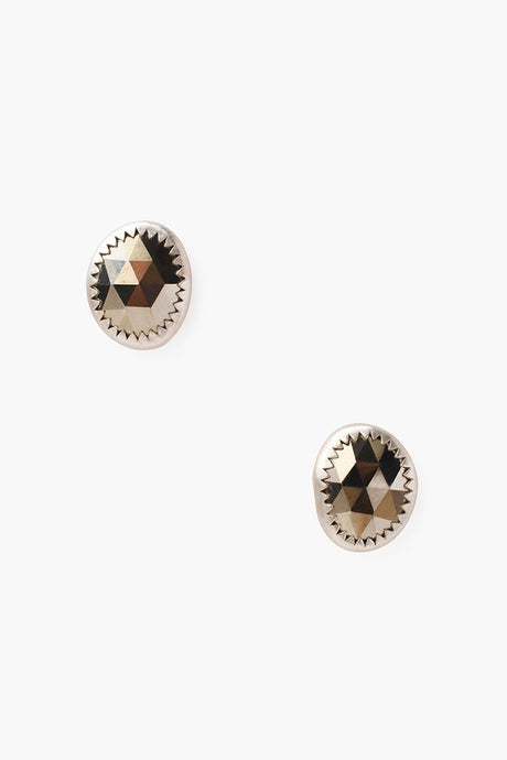 Pyrite Oval Stud Earrings