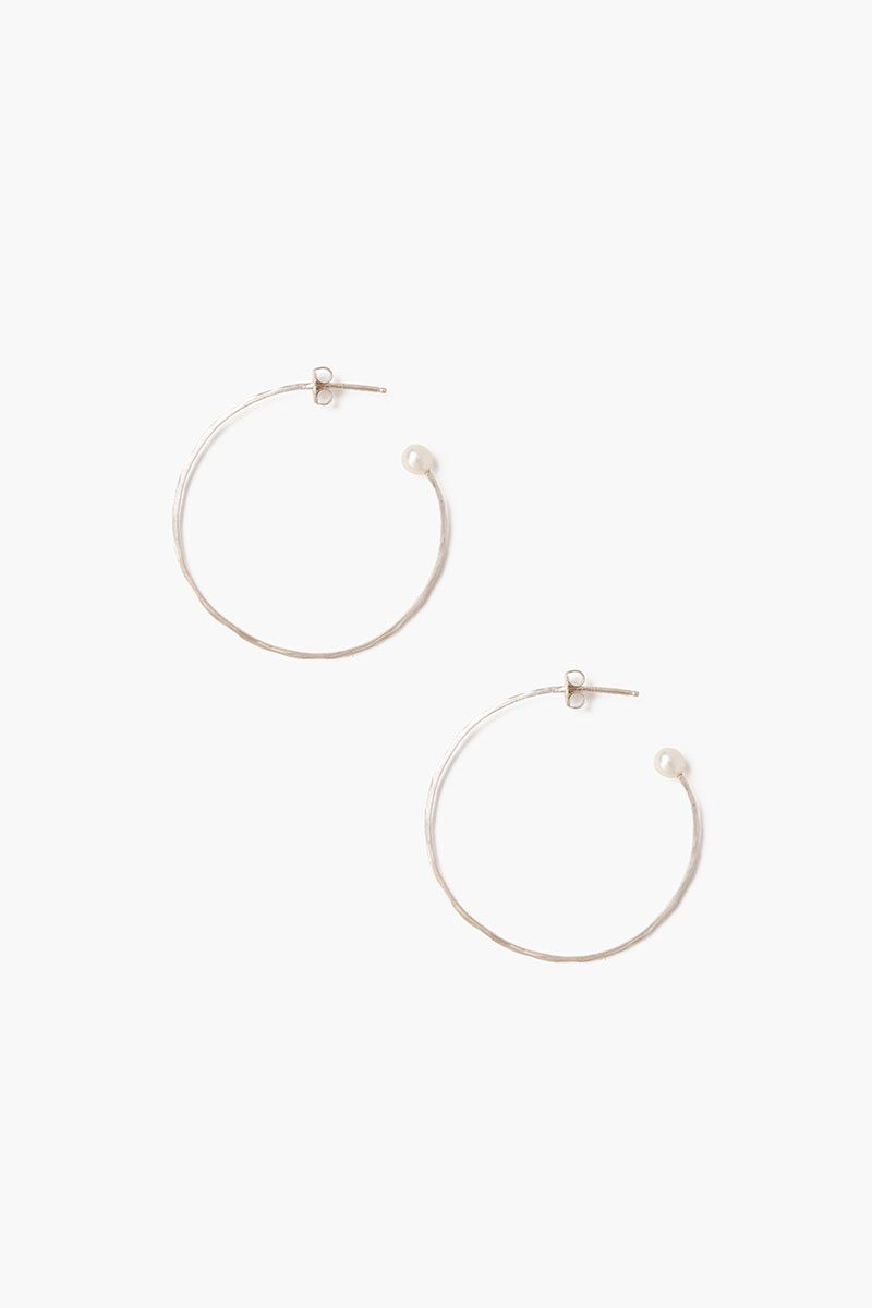 White Pearl Petite Hammered Hoop Earrings