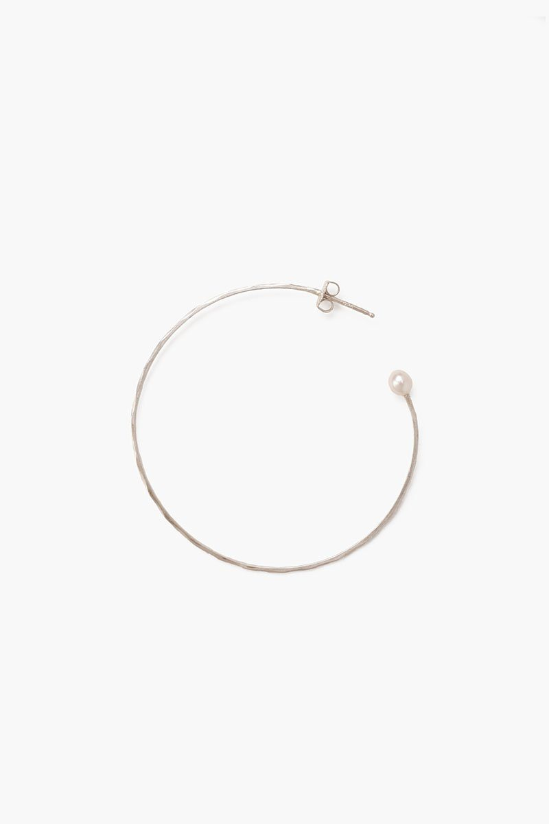 White Pearl Standard Hammered Hoop Earrings