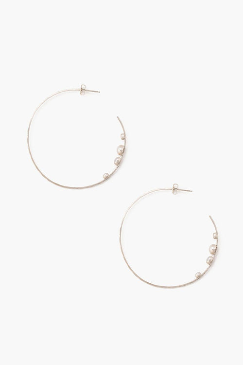 White Pearls Hammered Hoop Earrings