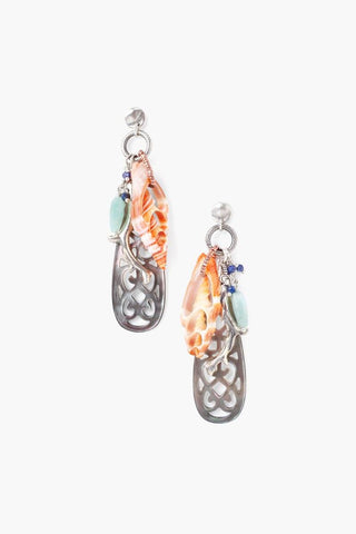 Blue Mix Sea Charm Earrings