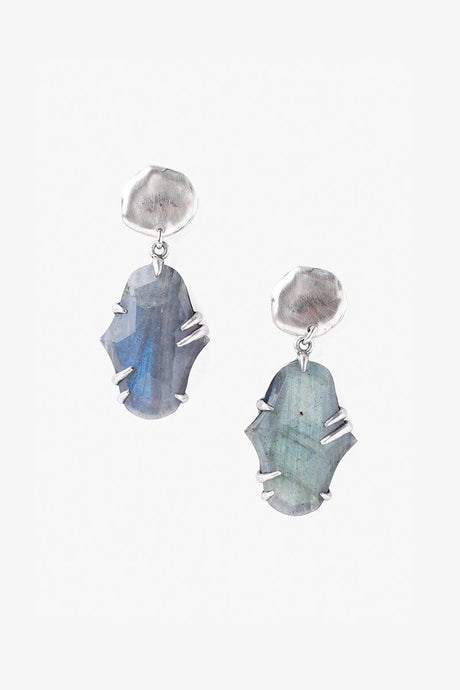 Two Tiered Pronged Labradorite Earrings