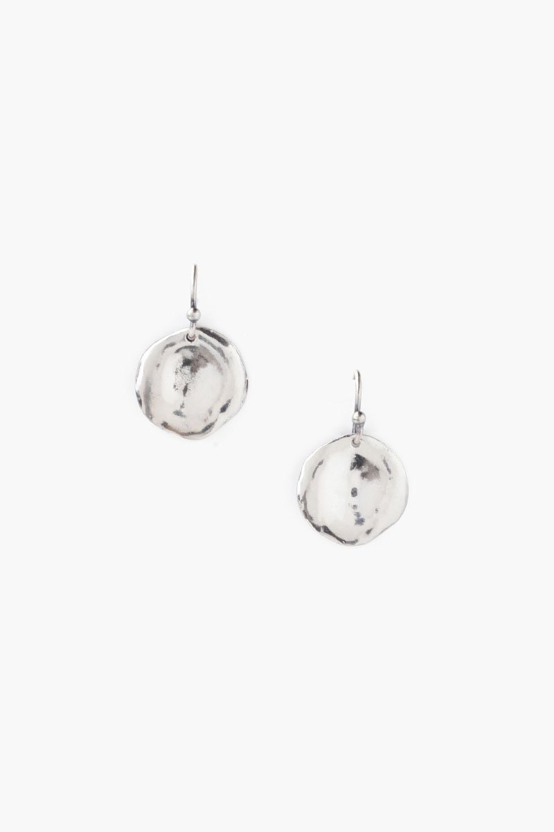 Silver Coin Drop Earrings