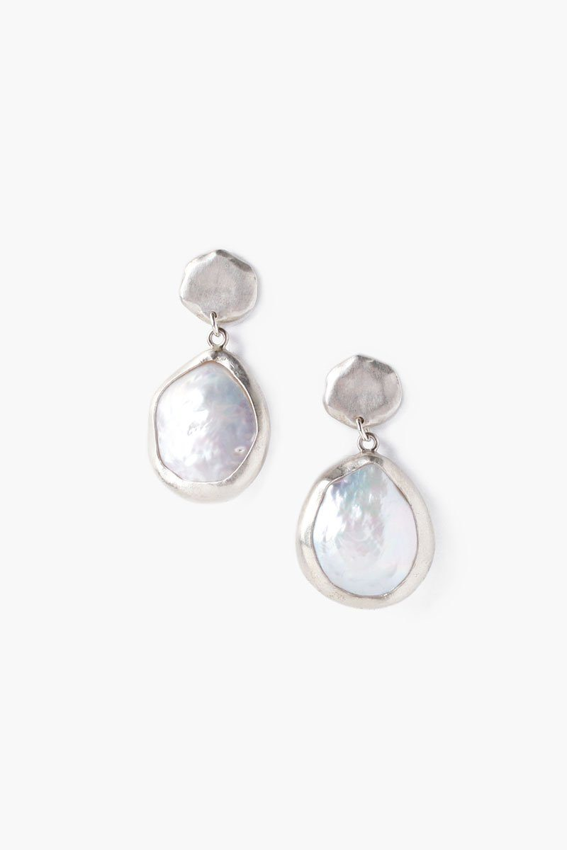 White Pearl and Coin Drop Earrings
