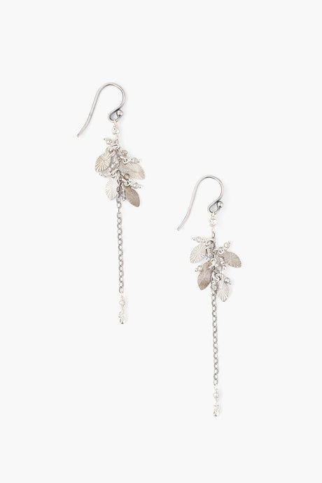 Silver Mix Leaf Charm Earrings