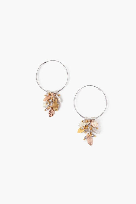 Multi Mix Leaf Charm Hoop Earrings