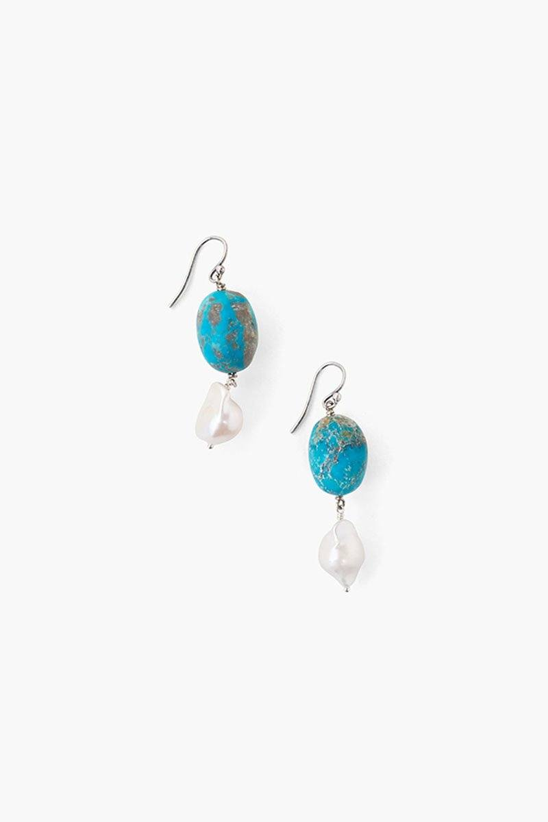 Tiered Turquoise and White Baroque Pearl Earrings