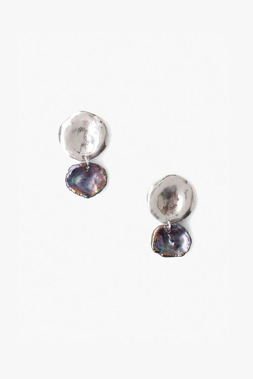 Two Tiered Peacock Blue Keshi Pearl Earrings