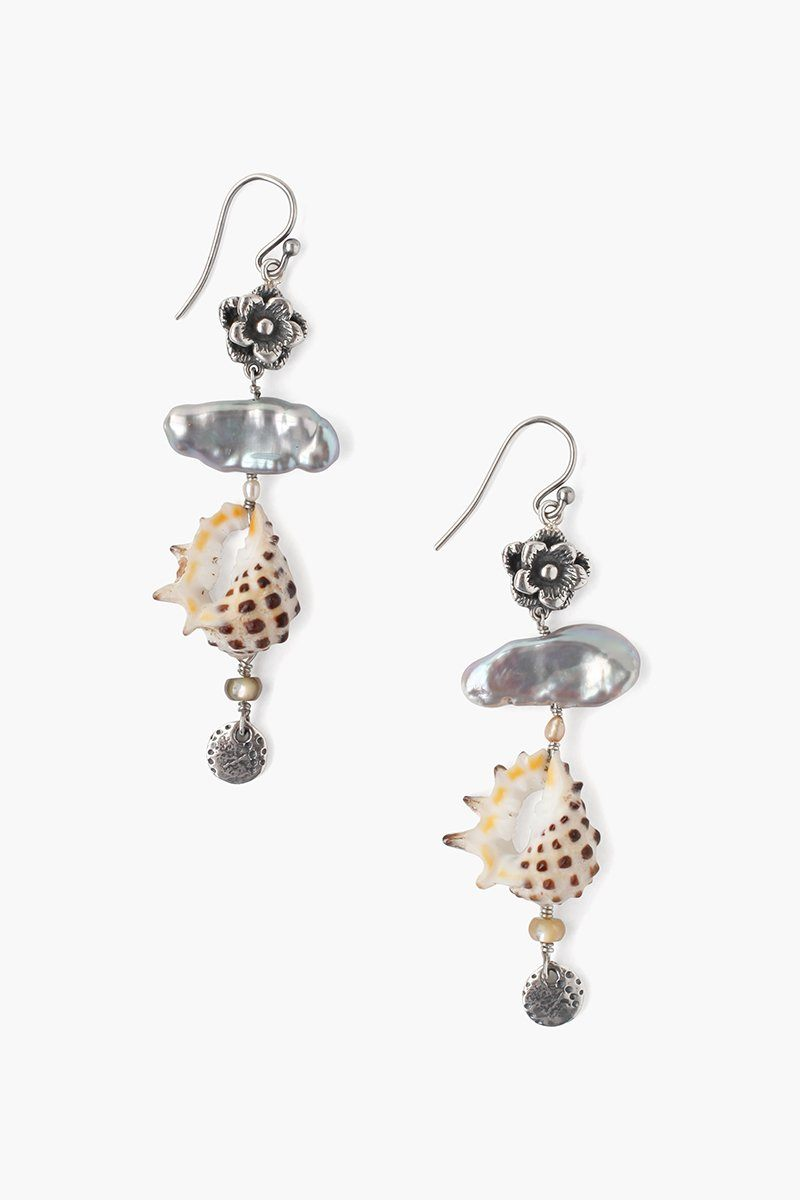 Tiered Grey Mix Pearl and Shell Earrings