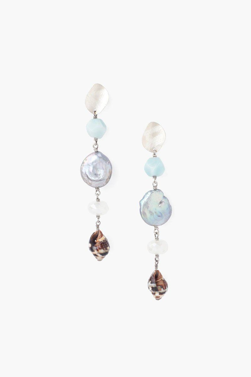 Tiered Peacock Blue Pearl Sea Charm Earrings