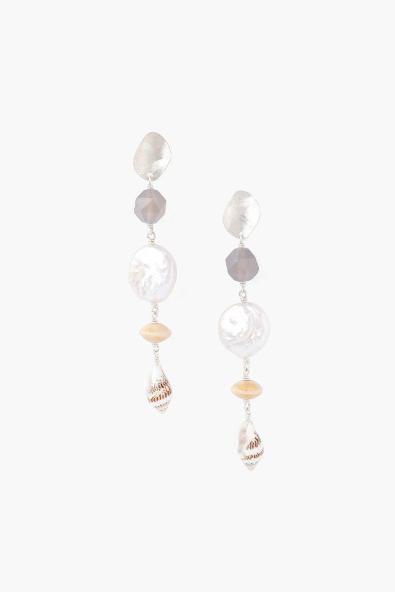 Tiered White Pearl Sea Charm Earrings