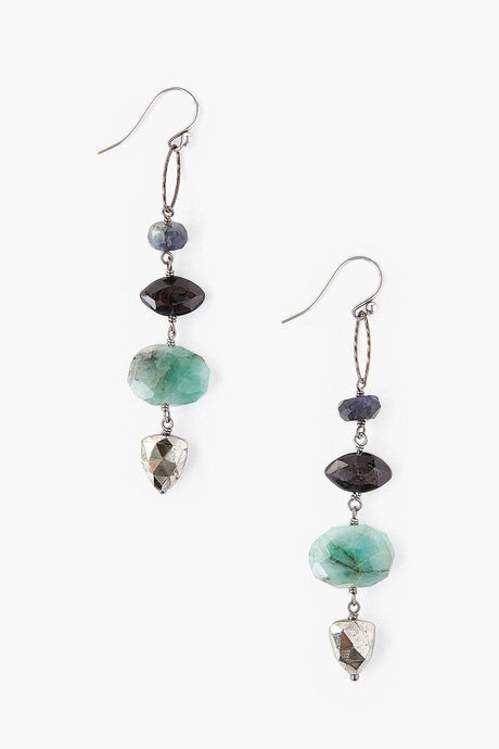 Tiered Green Mix Atlantis Earrings