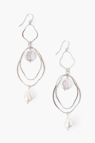 White Pearl Mix Thread Thru Earrings