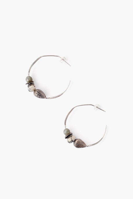 Grey Mix Hoop Earrings