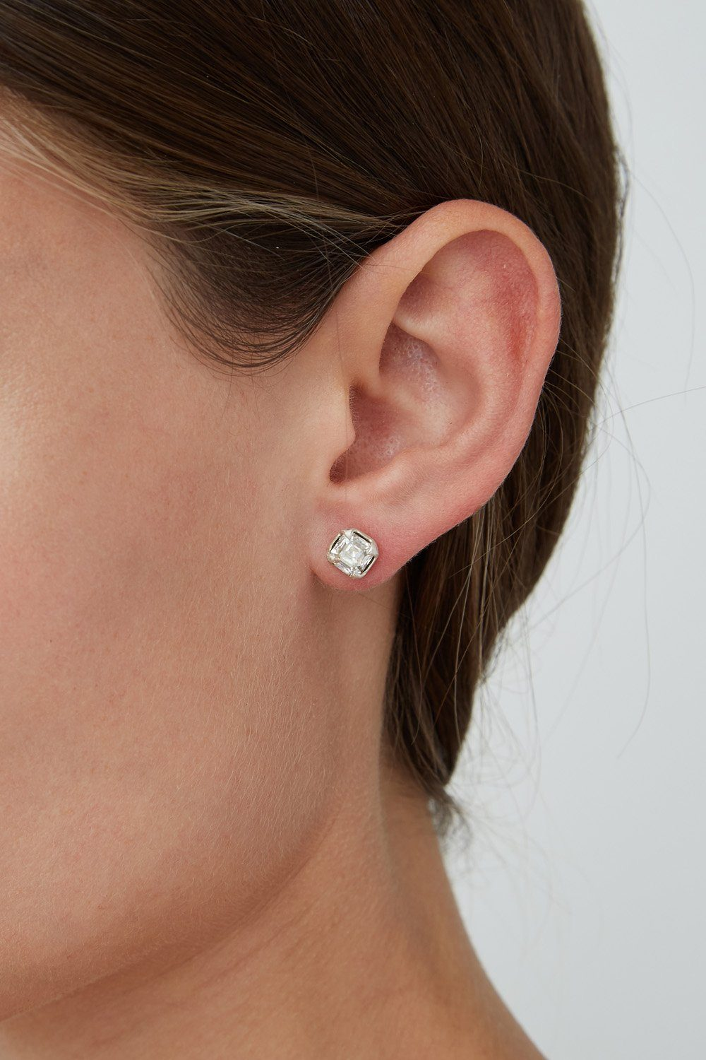 Silver Shade Crystal Petite Stud Earrings