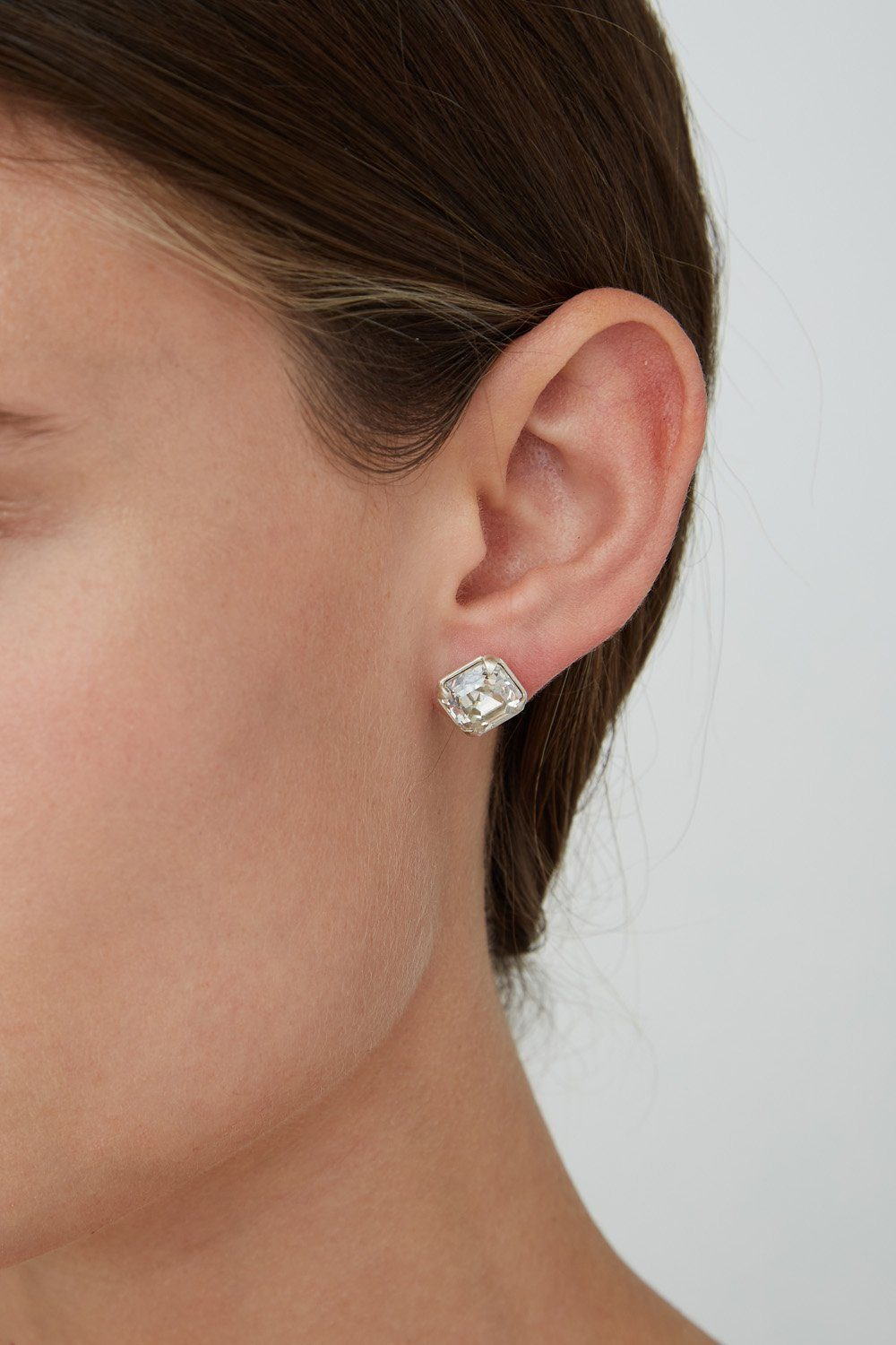 Silver Shade Crystal Stud Earrings