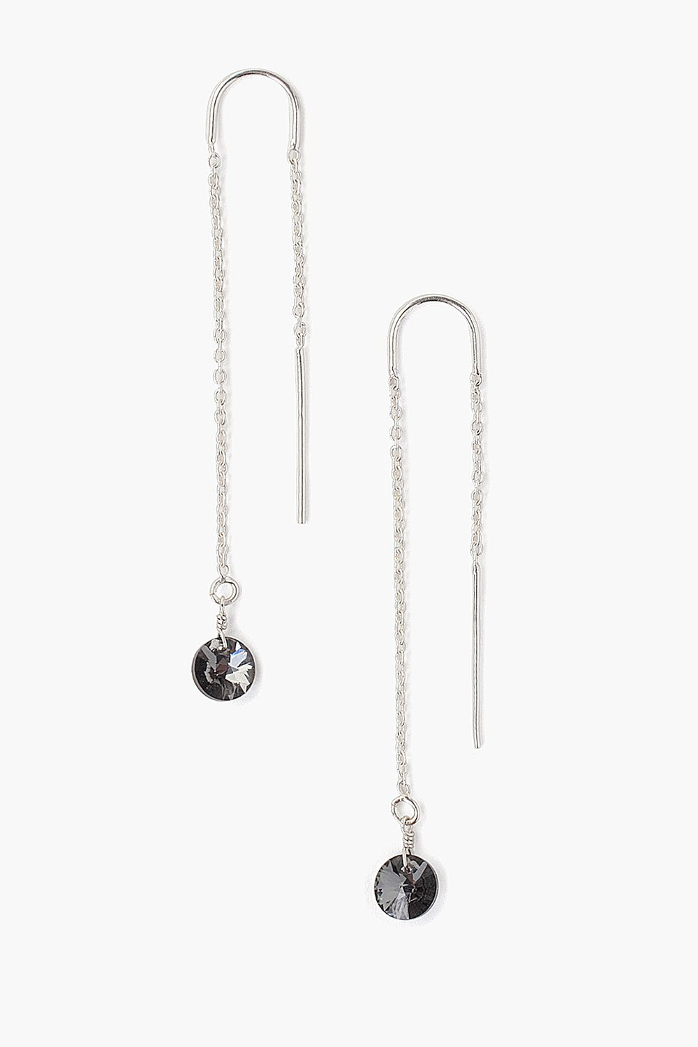 Silver Night Crystal Thread Thru Earrings