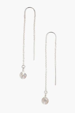Silver Shade Crystal Thread Thru Earrings