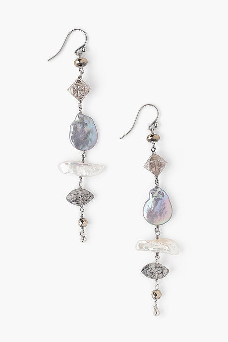 Tiered Peacock Pearl Mix Earrings