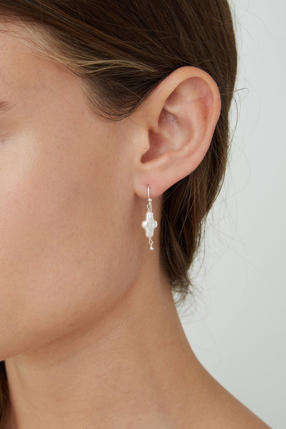 White Pearl Mini Cross Earrings