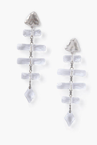 Silver Crystal Fishbone Earrings