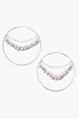Dark Champagne Pearl Multi-Chain Hoop Earrings