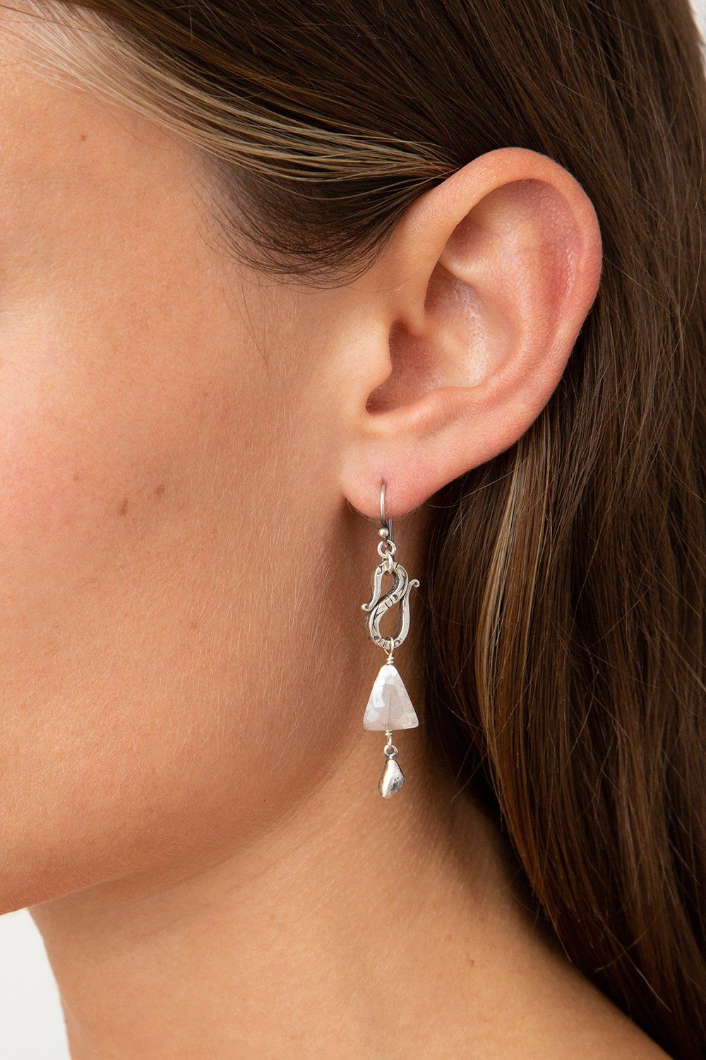 Tiered Arrowhead Lapis Earrings