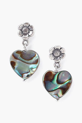 Tiered Flower and Abalone Heart Earrings