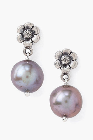 Tiered Flower and Dark Champagne Freshwater Pearl Earrings