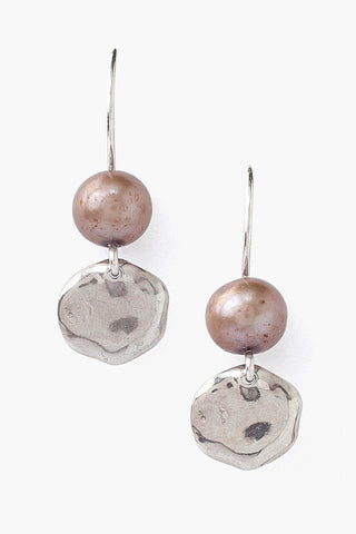 Tiered Dark Champagne Pearl and Coin Earrings
