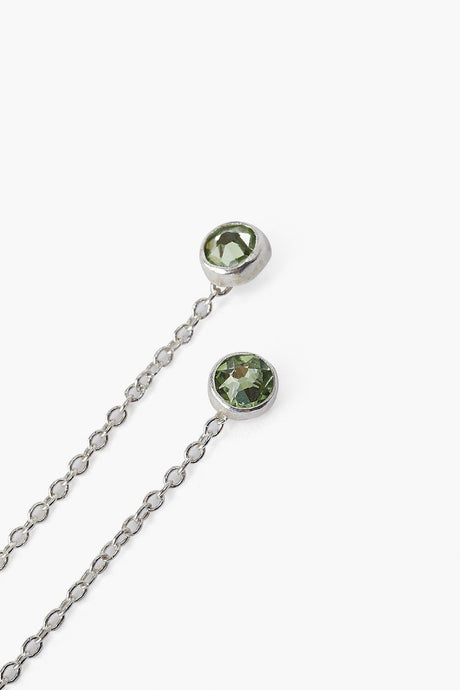 August Light Peridot Birthstone Thread Thru Earrings