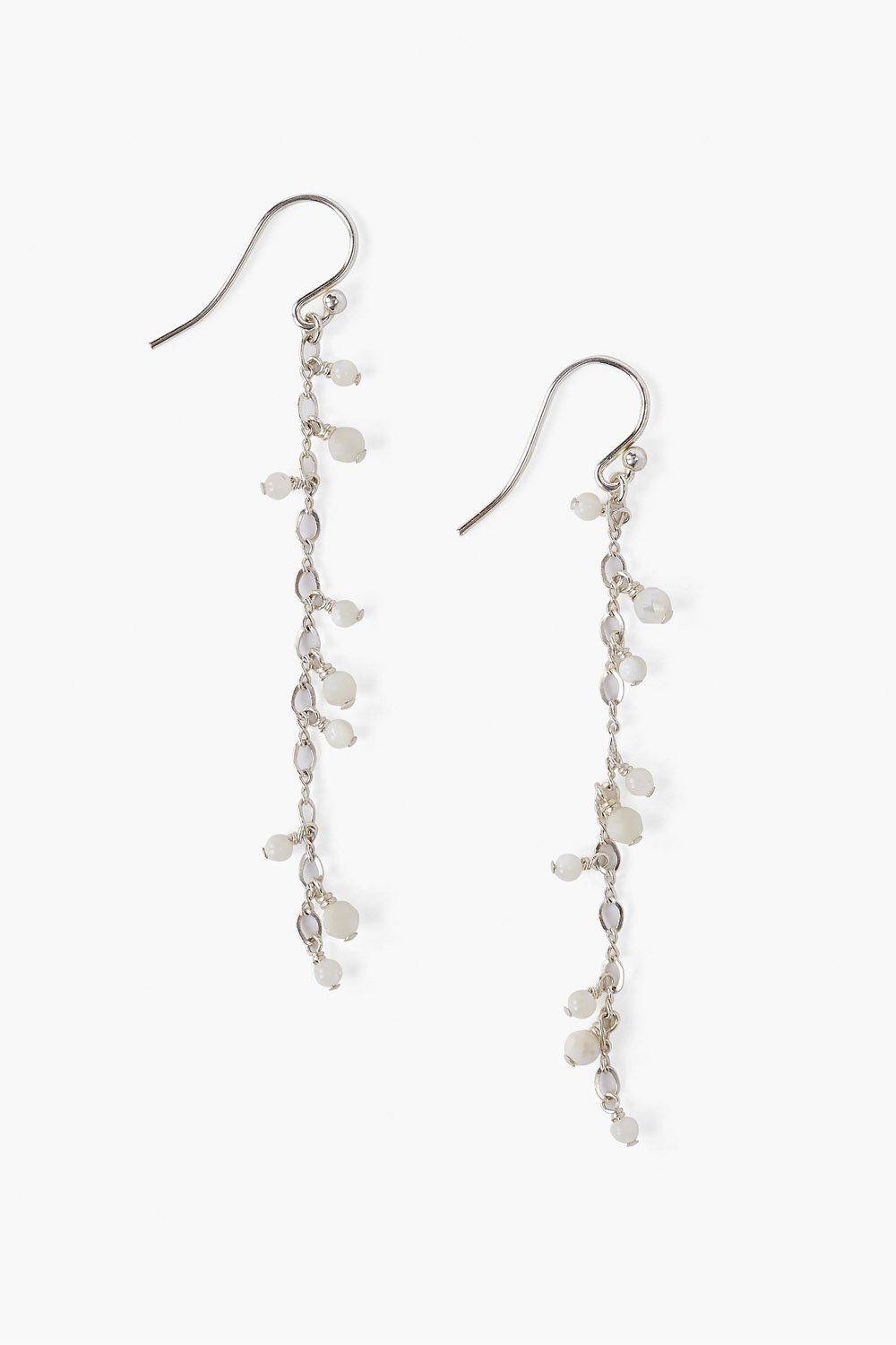 White Mother of Pearl Cascading Earrings