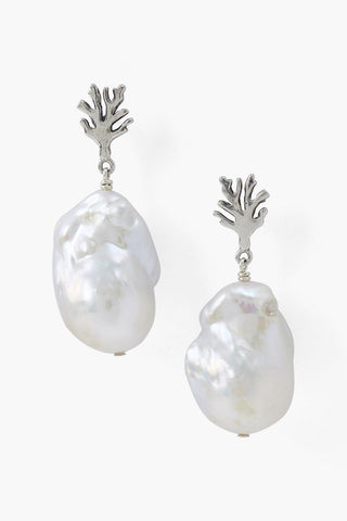 Baroque Pearl Coral Branch Earring