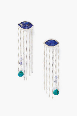 Lapis Crying Evil Eye Earrings