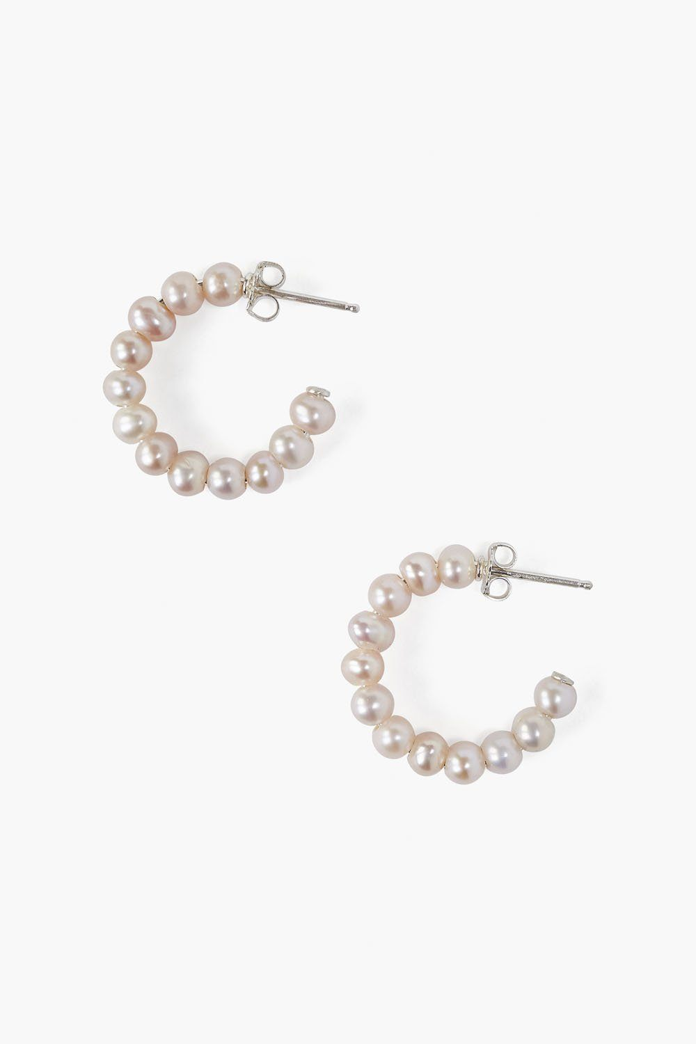 Pink Pearl Holly Hoop Earrings