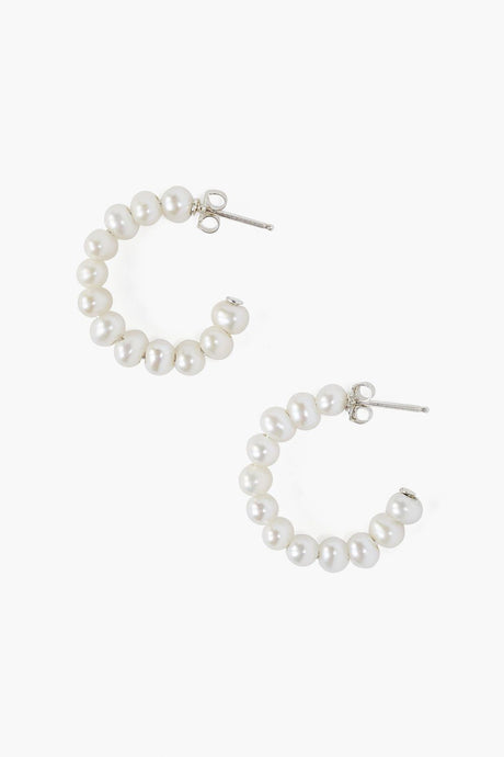White Pearl Holly Hoop Earrings