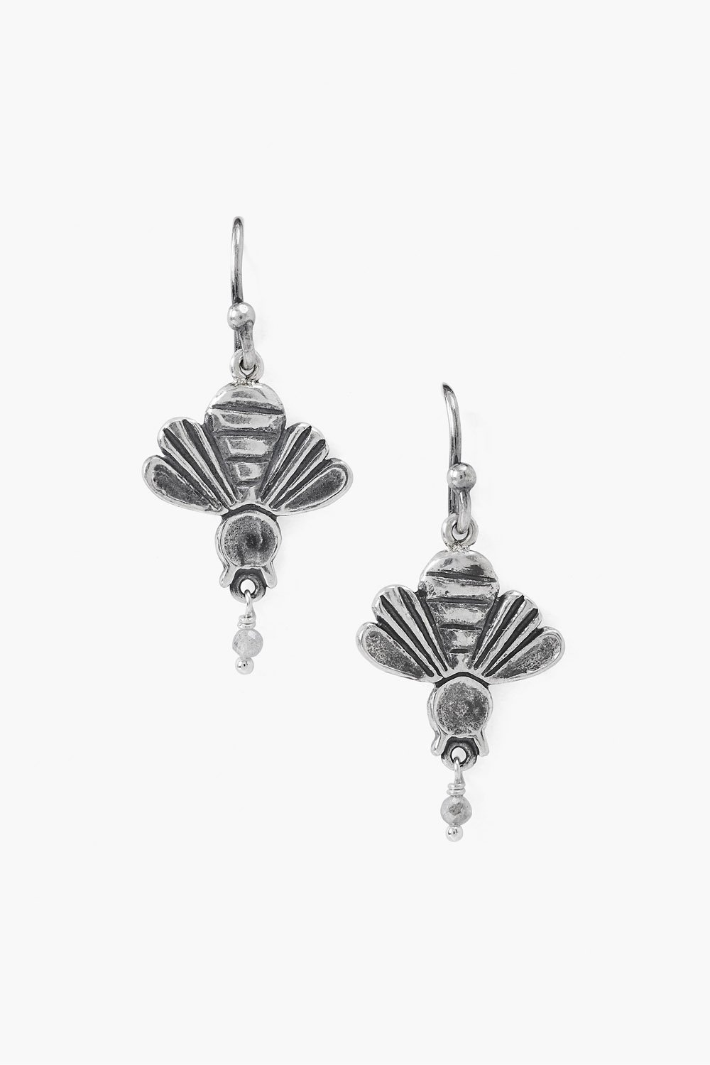 Silver Bee Drop Earrings