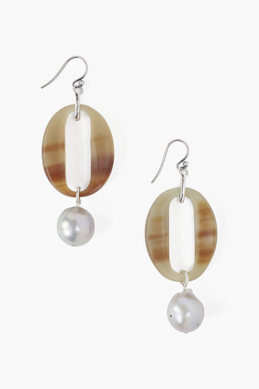 White Horn and Grey Pearl Drop Earrings