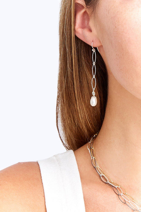Silver Chain Link Pearl Earrings