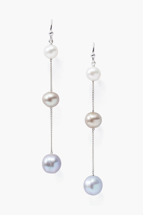 Grey Pearl Mix Trinity Earrings