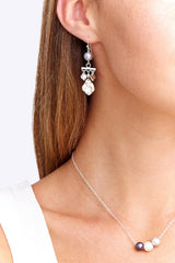 Silver Coin and Pearl Chandelier Earrings