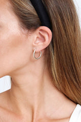 Petite Infinity Hoop Silver Earrings