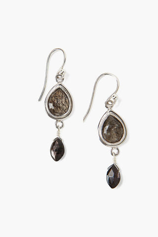 Black Rutilated Quartz Drop Earrings